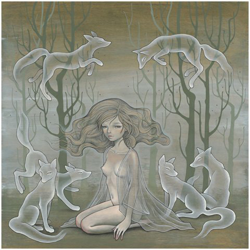 """Lili and Her Ghosts oil & graphite on wood, 24"""" x 24"""""""