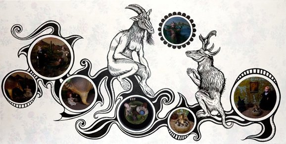 """A Beautiful Initiation 2009, india ink & mixed media on board, 36"""" x 70"""""""