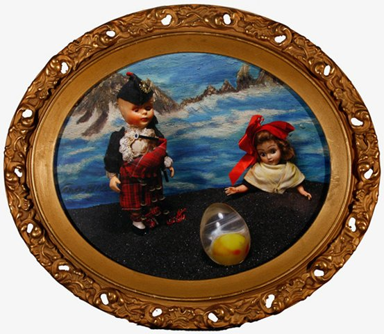 """Albert and Lisette with Egg 2010, digital photo print in vintage frame, 13.5"""" x 15.5"""""""