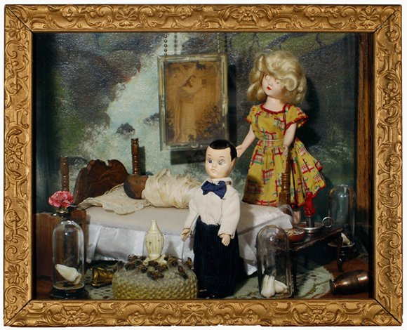 """Bad Seed Boy with Mother and Wrapped Baby 2010, digital photo print in vintage frame, 12.75"""" x 15.75"""""""