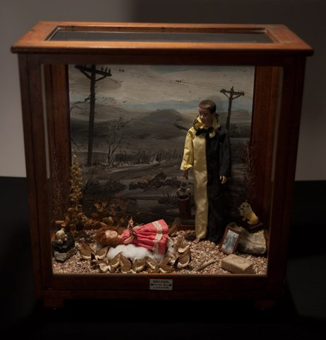 """Geneviève and Her Imaginary Friends 2010, mixed media diorama, 21"""" x 18"""" x 9.5"""""""