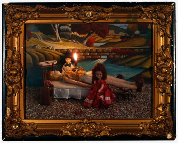 """Geneviève with Tall Friend and Bad Seed Boy 2010, digital photo print in vintage frame, 12"""" x 15.25"""""""