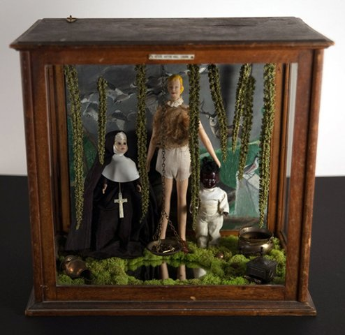 """Lisette Sought Spiritual Guidance in the Forest 2010, mixed media diorama, 17"""" x 18"""" x 11"""""""