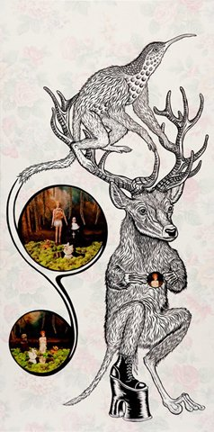 """Lisette Was So Puzzled 2010, india ink & mixed media on board, 56"""" x 28"""""""