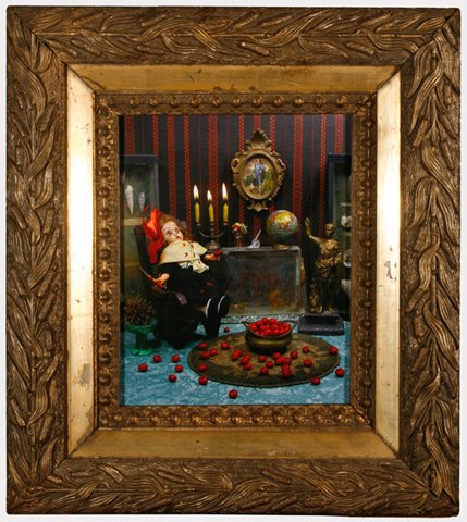 """Lisette in Living Room with Tomatoes 2010, digital photo print in vintage frame, 16.25"""" x 14.5"""""""