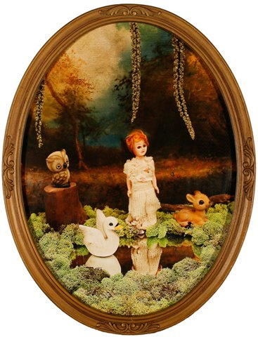 """Lisette with Animals in Forest 2010, digital photo print in vintage frame, 17"""" x 13"""""""