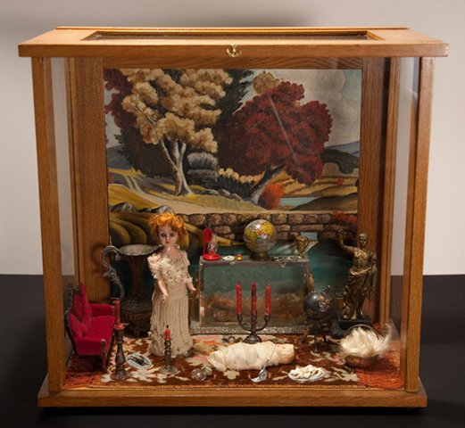 """Lisette with Baby Geneviève in Living Room 2010, mixed media diorama, 17"""" x 18"""" x 10"""""""