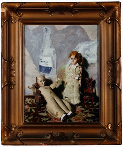 """Lisette with M. Poussif and Bottle 2010, digital photo print in vintage frame, 13"""" x 11"""""""