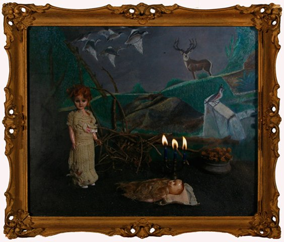 """Lisette with Wrapped Baby G in Forest 2010, digital photo print in vintage frame, 12"""" x 13.75"""""""