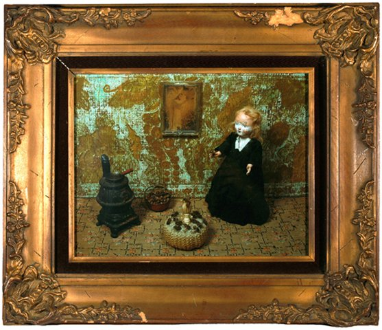 """Mme Poussiéreuse with Dead Bees on Cushion 2010, digital photo print in vintage frame, 18.25"""" x 21.25"""""""