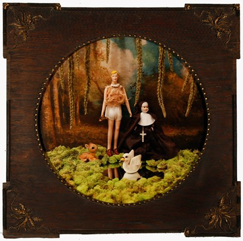 """Tall Friend and Nun in Forest 2010, digital photo print in vintage frame, 16"""" x 16"""""""