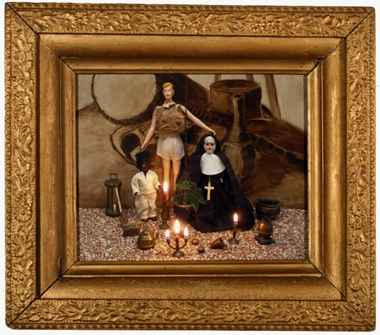"""Tall Friend with Nun and Black Man 2010, digital photo print in vintage frame, 12.5"""" x 14.75"""""""