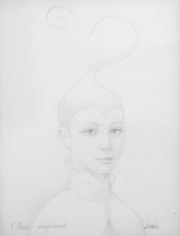 Clara and the Mysterious Uniform, Graphite on paper, 14 x 11 in