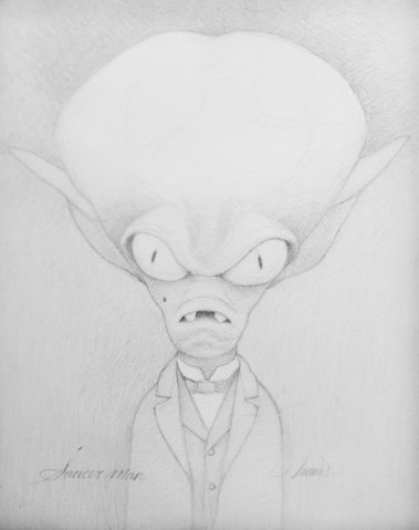The Saucer Man, Graphite on paper, 14 x 11 in