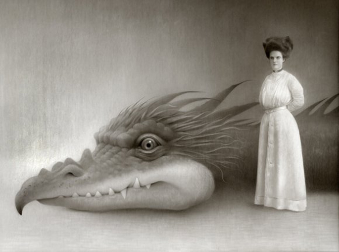 """Miss Miniver and Her Dragon, 2011 Acrylic on board, 18x24"""""""