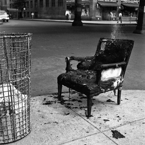 BURNT CHAIR NEW YORK 1954, 12 X 12 IN (IMAGE), 20 X 16 IN (PAPER) MODERN GELATIN SILVER PRINT, LTD. ED. OF 15 0120547