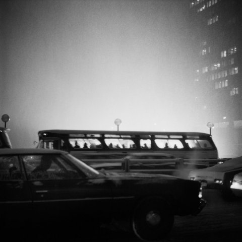 BUS AT DUSK C. 1970 CHICAGO, 12 X 12 IN (IMAGE), 20 X 16 IN (PAPER) MODERN GELATIN SILVER PRINT, LTD. ED. OF 15 0117599