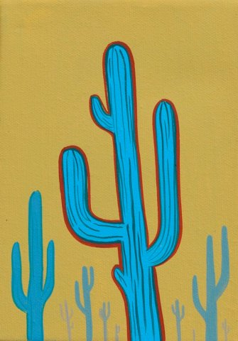 CACTI 2, ACRYLIC ON CANVAS, 7X5 IN