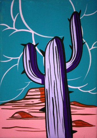 CACTI 4, ACRYLIC ON CANVAS, 7X5 IN