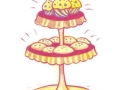 """CAKE STAND 2009, WATERCOLOR & ACRYLIC ON PAPER, 11.25"""" X 7.5"""""""