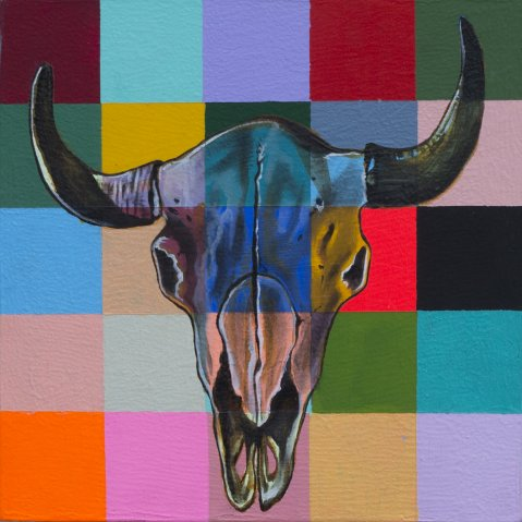 COWSKULL 2, ACRYLIC AND OIL ON CANVAS, 12X12 IN