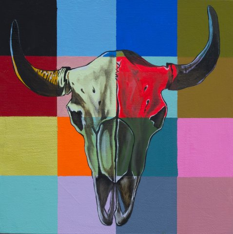 COWSKULL 3, ACRYLIC AND OIL ON CANVAS, 10X10 IN