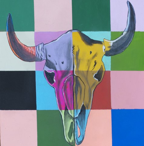 COWSKULL 5, ACRYLIC ON CANVAS, 9X9 IN
