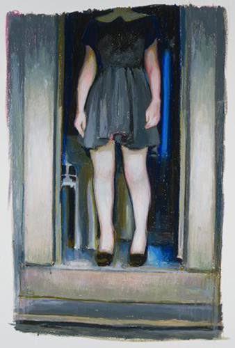 "DOORWAY, 2011 OIL PASTEL ON PAPER, 38"" X 26"""