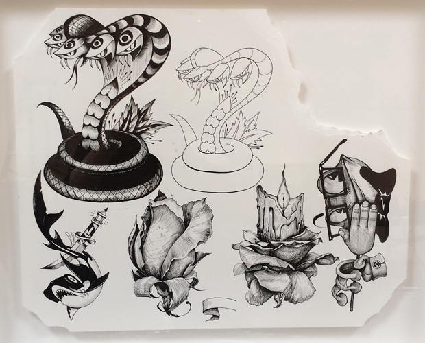 ELEMENTS WORKING – TATTOO FLASH, INK ON PAPER, 14 X 17 IN, 2016