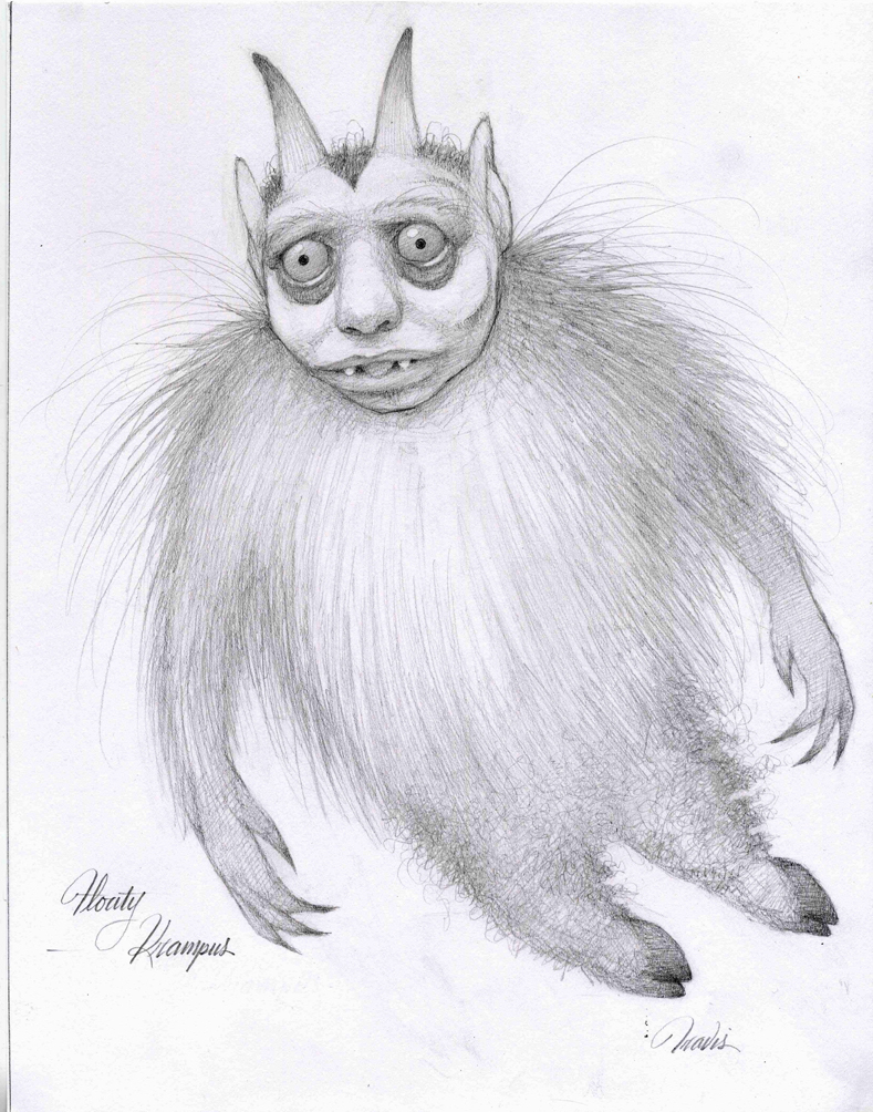 FLOATING KRAMPUS, DRAWING GRAPHITE ON PAPER, 14 X 11 INCHES