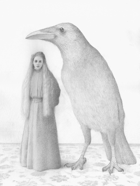 MISS CHRISTINA AND THE CROW, DRAWING GRAPHITE ON PAPER, 24 X 18 INCHES