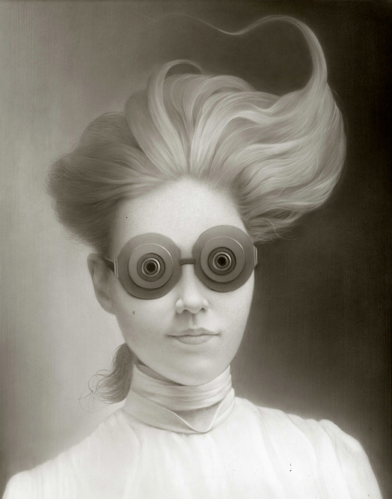 MISS EMILY AND HER SPECTRE GOGGLES ACRYLIC ON BOARD, 14 X 11 INCHES