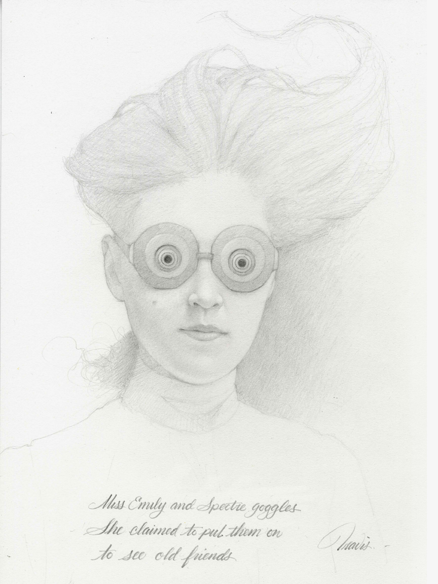 MISS EMILY AND HER SPECTRE GOGGLES, DRAWING GRAPHITE ON PAPER, 16 X 12 INCHES