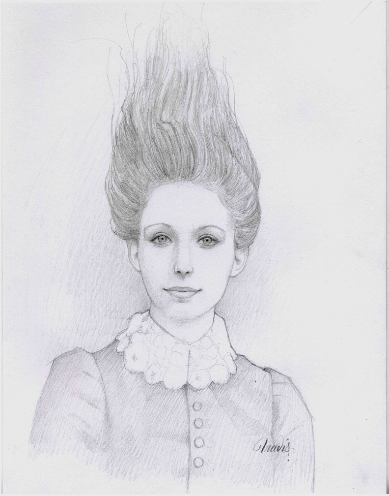 MISS PINE, DRAWING GRAPHITE ON PAPER, 14 X 11 INCHES