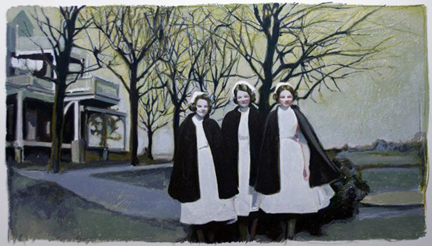 "THREE NURSES, 2011 OIL PASTEL ON PAPER, 37"" X 33"""