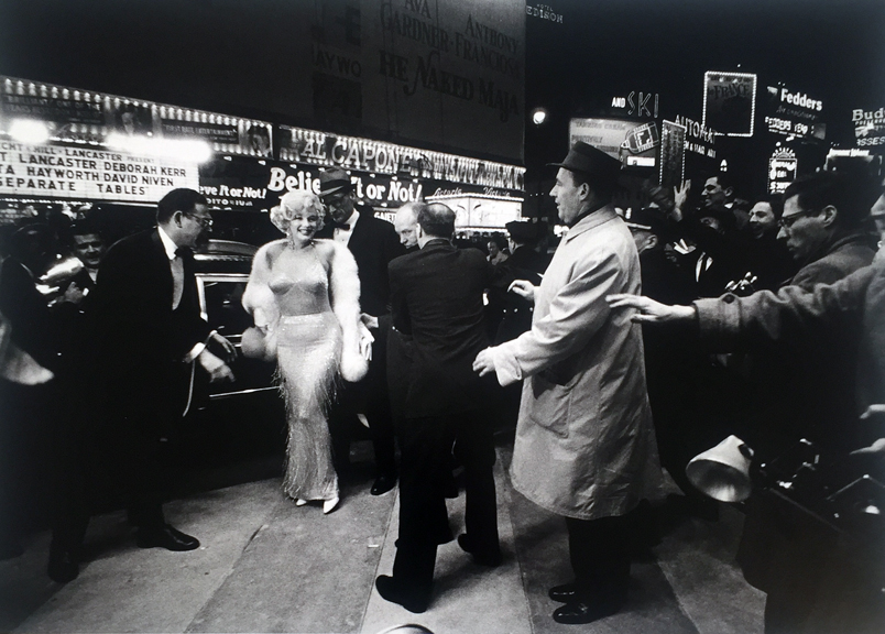 Marilyn Monroe and Arthur Miller at the opening of 'Some Like It Hot', Times Square, 1959