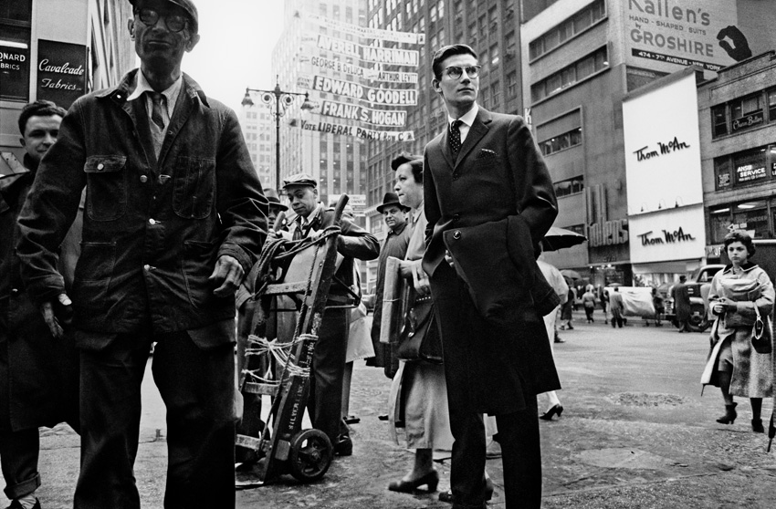 Yves Saint-Laurent on 7th Ave, New York, 1958