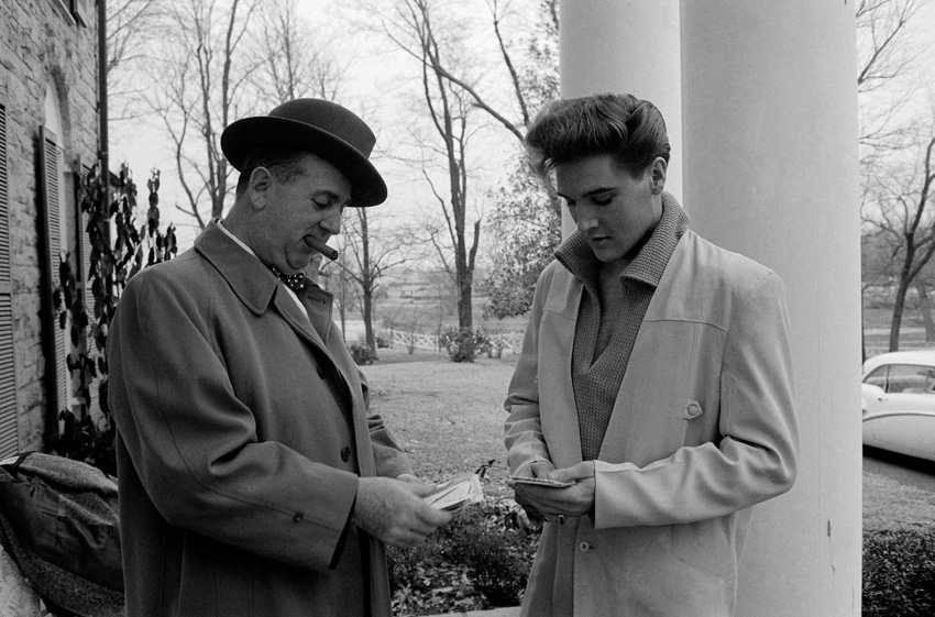 Elvis Presley with his manager at Colonel Parker, Graceland, Memphis, TN, 1960